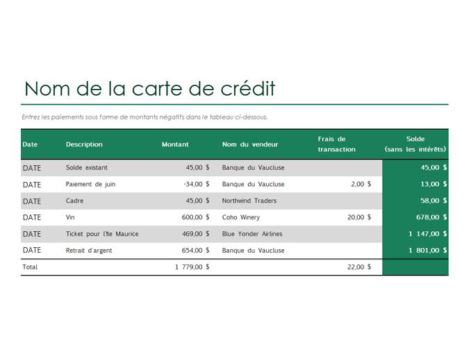 Journal de carte de crédit