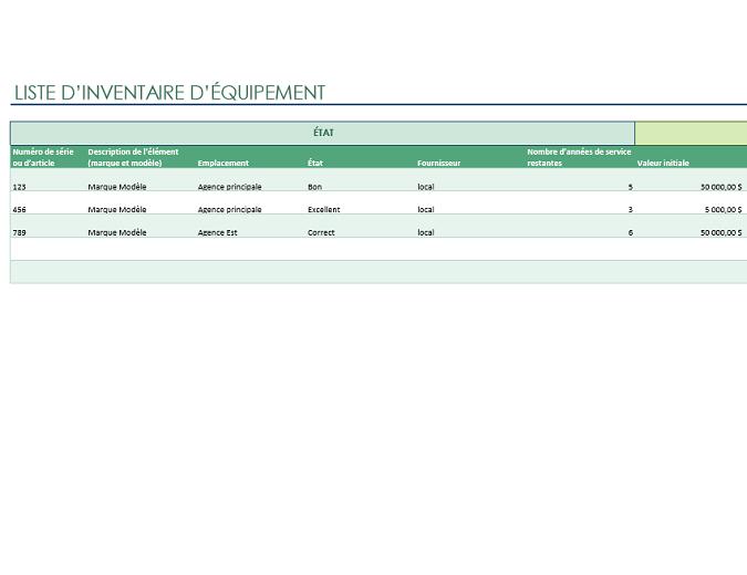 Liste d'inventaire d'équipement