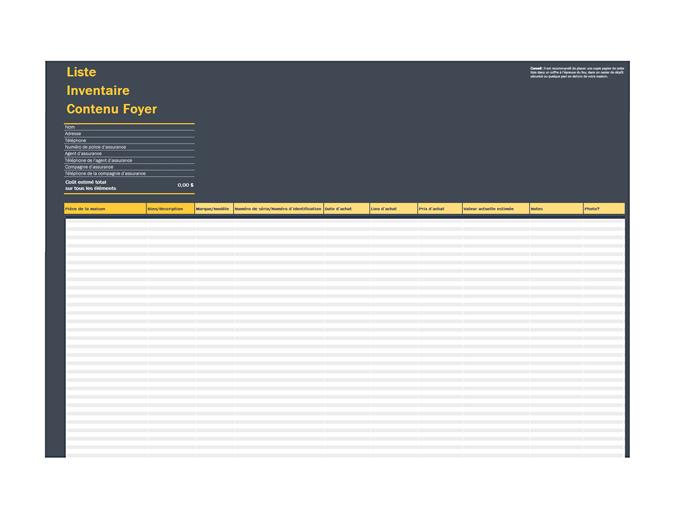 Liste d'inventaire de contenu de maison
