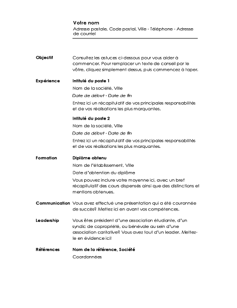 CV chronologique (conception Minimaliste)