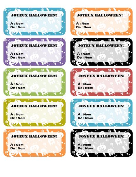 Étiquettes d'Halloween (10 par page)