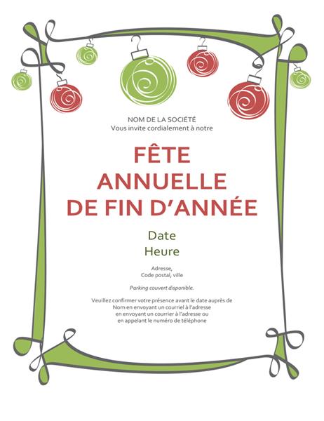 Invitation à une fête de fin d'année avec décorations et bordure tourbillonnante (conception informelle)