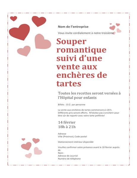 Invitation à une vente aux enchères de tartes pour la Saint-Valentin