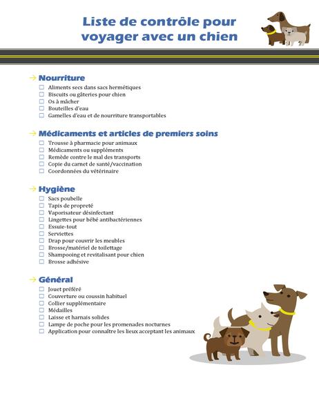 Liste de contrôle Voyager avec un chien