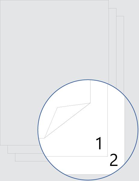 Numérotation après la page de garde recto verso (bas)
