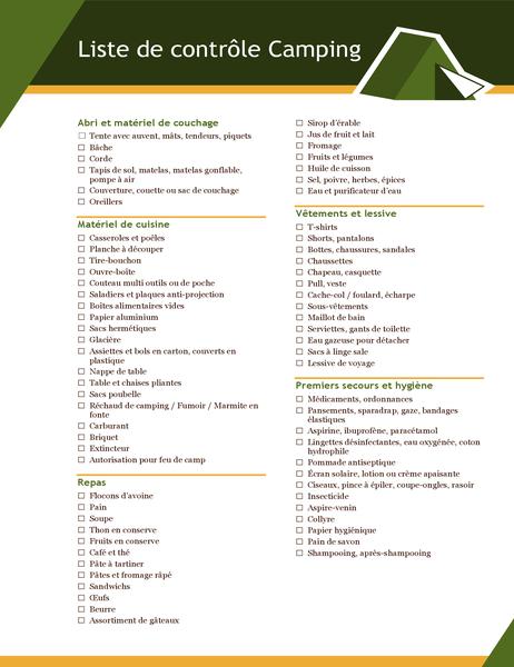 Liste de contrôle Camping
