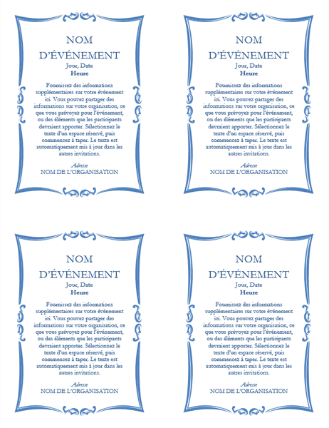 Circulaire d'annonce d'événement (quatre exemplaires)