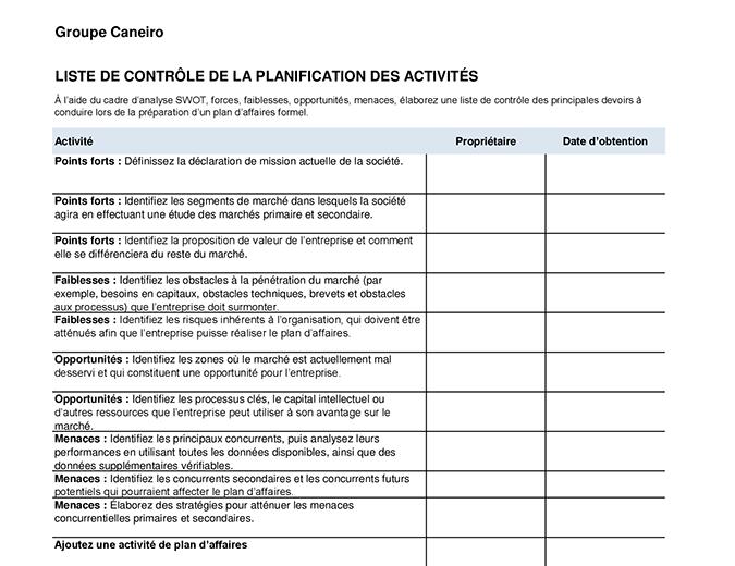 Liste de contrôle du plan d'affaires