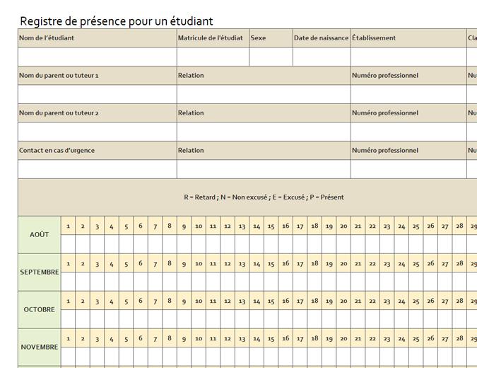 Registre de présence pour un étudiant (simple)