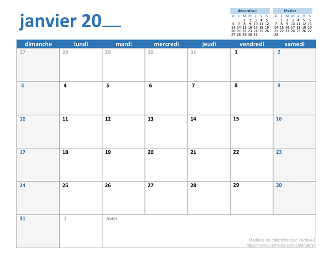 Calendrier mensuel annuel