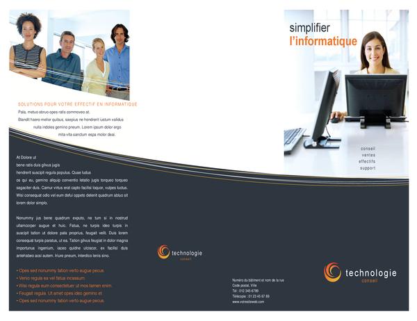 Brochure d'entreprise de technologie (dépliant à trois pages)