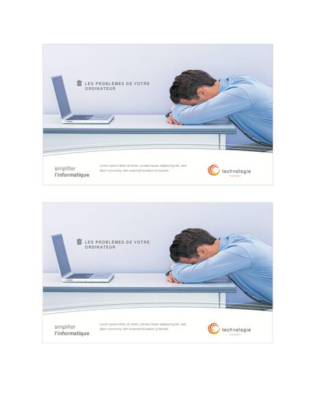 Carte postale entreprise de technologie (2 par page)