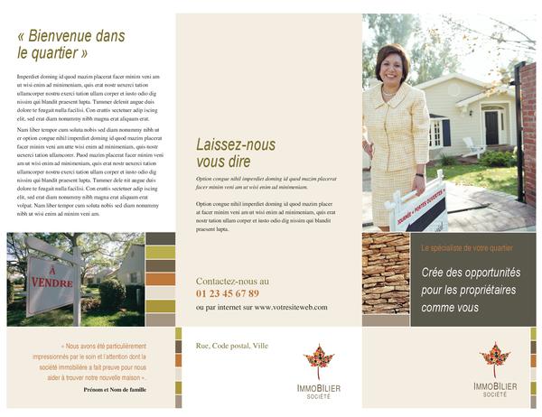 Brochure d'entreprise immobilière (dépliant à trois pages)