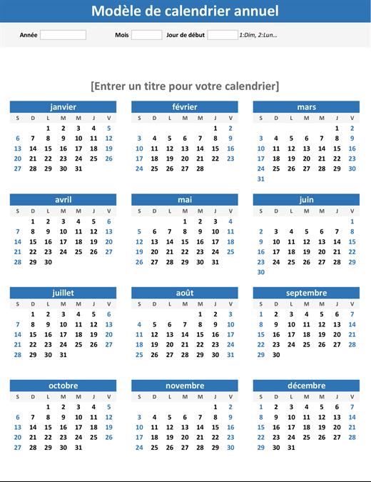 Calendrier N'importe quelle année en un coup d'œil (portrait)
