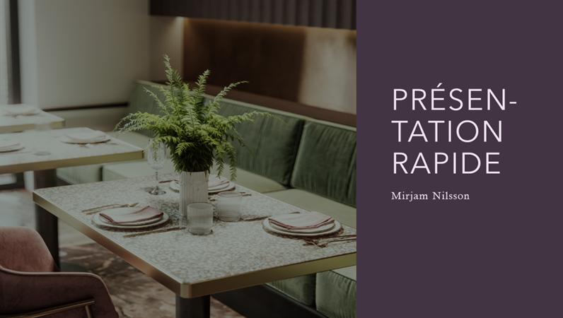 Présentation rapide d'un restaurant