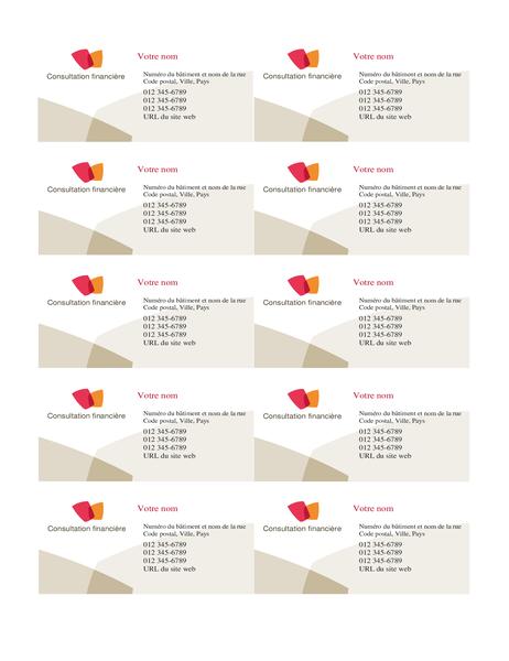 Carte de visite financière (10 par page)