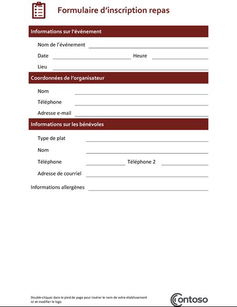 Formulaire d'inscription pour repas communautaire