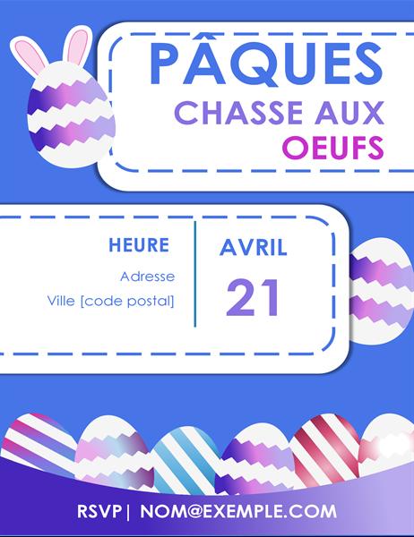 Prospectus Chasse aux œufs de Pâques bleu
