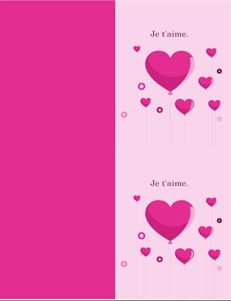 Carte de Saint-Valentin avec ballons en forme de coeur