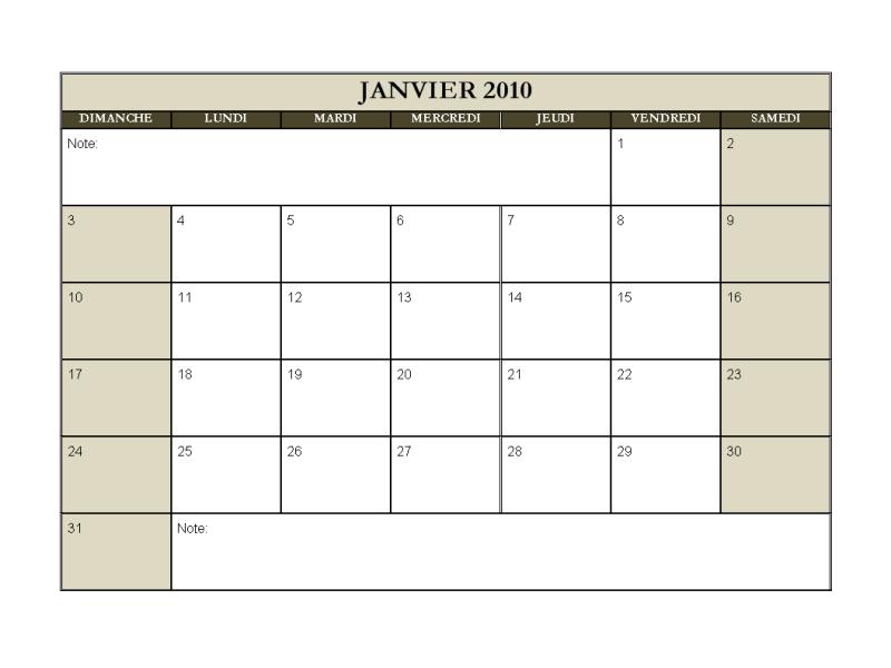 Calendrier 2010, 12 mois (dim au sam)