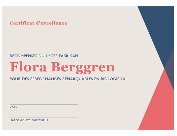 Certificat d'excellence d'école secondaire