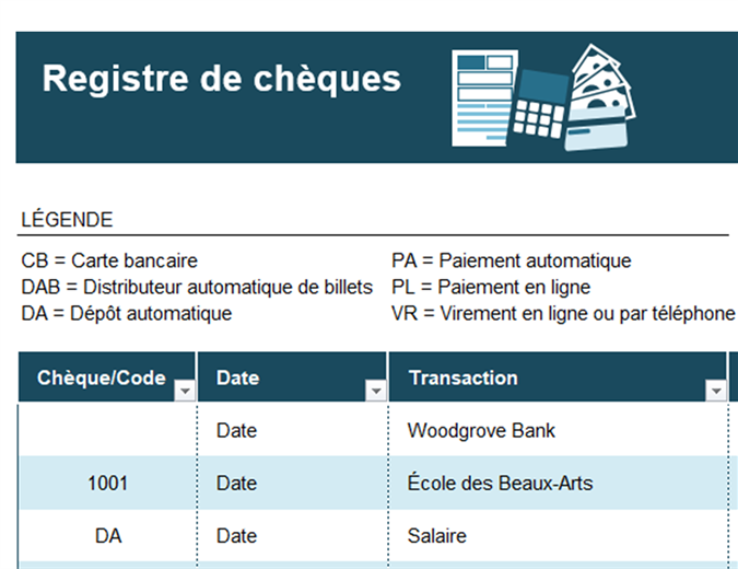 Registre de chèques contenant les codes des opérations