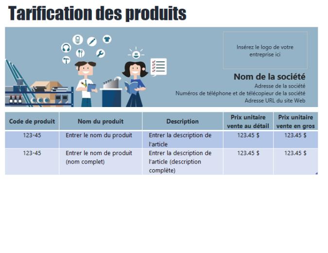 Tarification de produits bleue