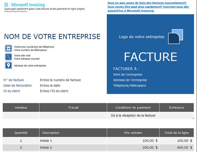 Facture de commande avec Microsoft Invoicing