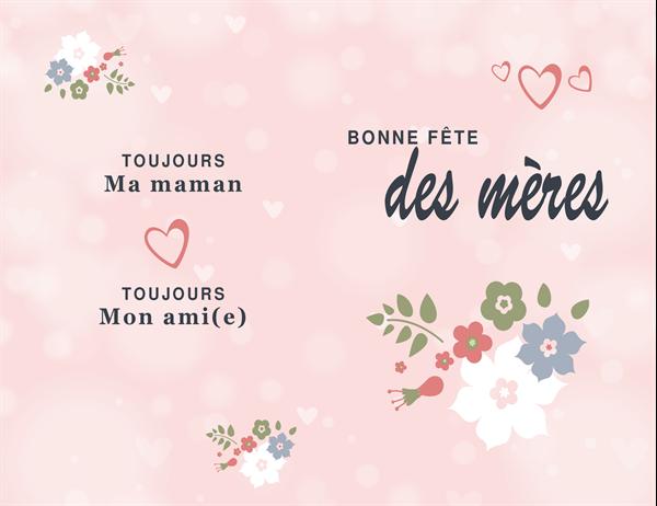 Carte de fête des mères: thème de couleur rose