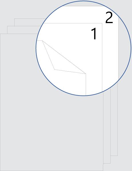 Numérotation après la page de garde recto verso (haut)