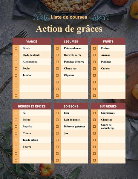 Liste de course de l'Action de grâces