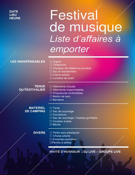 Music festival packing checklist