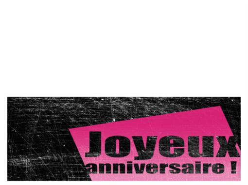Carte d'anniversaire avec arrière-plan rayé (rose, noir, deux volets)