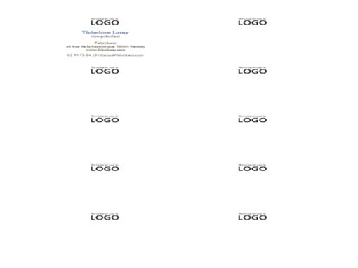 Cartes de visite, mise en page horizontale avec logo (10par page)