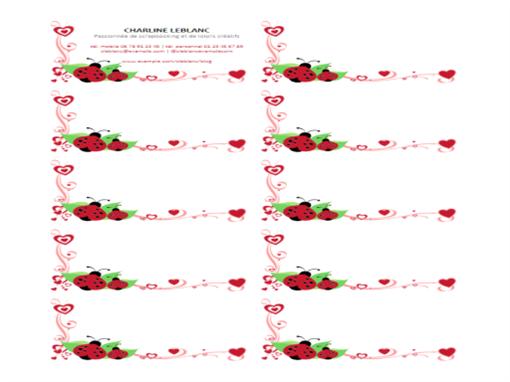 Cartes de visite (coccinelles et cœurs, centrées, 10 par page)