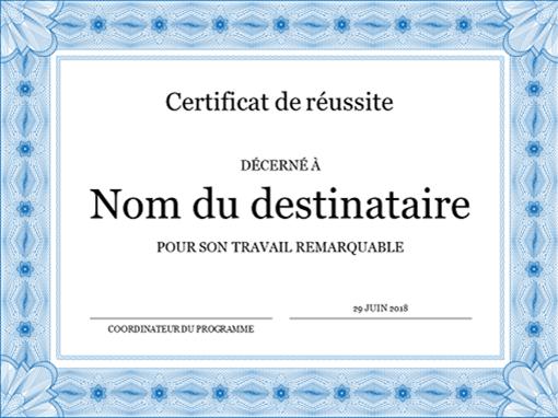 Certificat de réussite scolaire (bordure bleue)