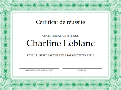 Certificat de r ussite vert office templates for Certificat de precompte
