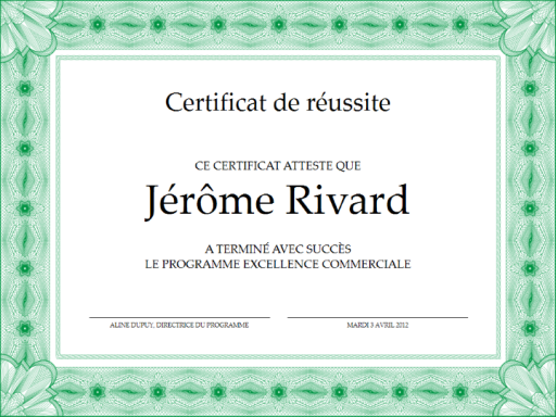 certificat de r ussite vert office templates. Black Bedroom Furniture Sets. Home Design Ideas