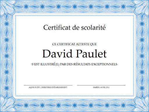 Certificat de scolarité (formel, bordure bleue) - Office