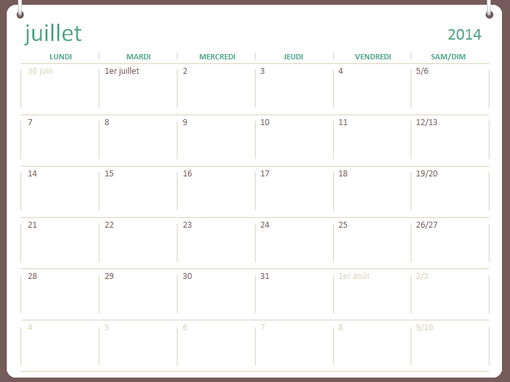 Calendrier scolaire 2014-2015 (juillet-juin)