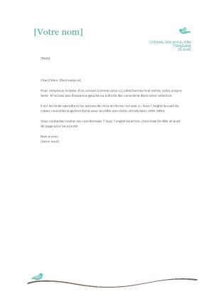 En-tête de lettre personnel