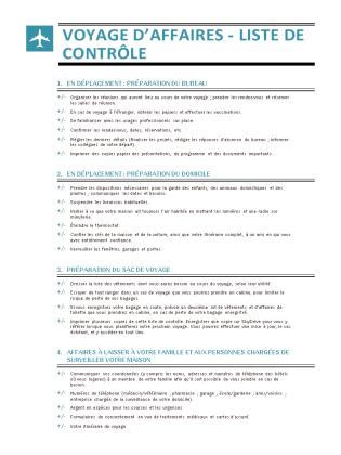 Liste de contrôle de déplacement professionnel