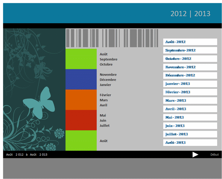 Calendrier académique 2012-2013