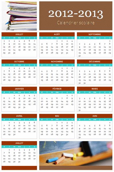Calendrier scolaire 2012-2013