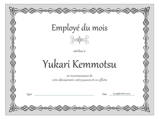 Certificat d'employé du mois (conception de chaîne grise)