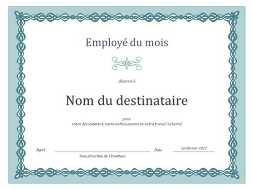 Certificat d'employé du mois (chaîne bleue)