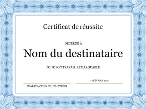 Certificat de réussite (bleu)