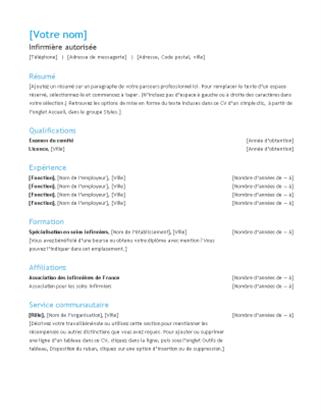 CV d'infirmière autorisée