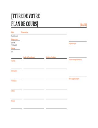 Planificateur de leçons quotidiennes