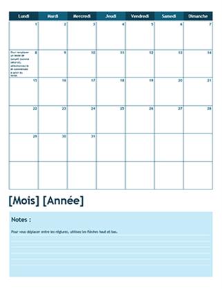 Calendrier scolaire mensuel (lundi comme premier jour de la semaine)